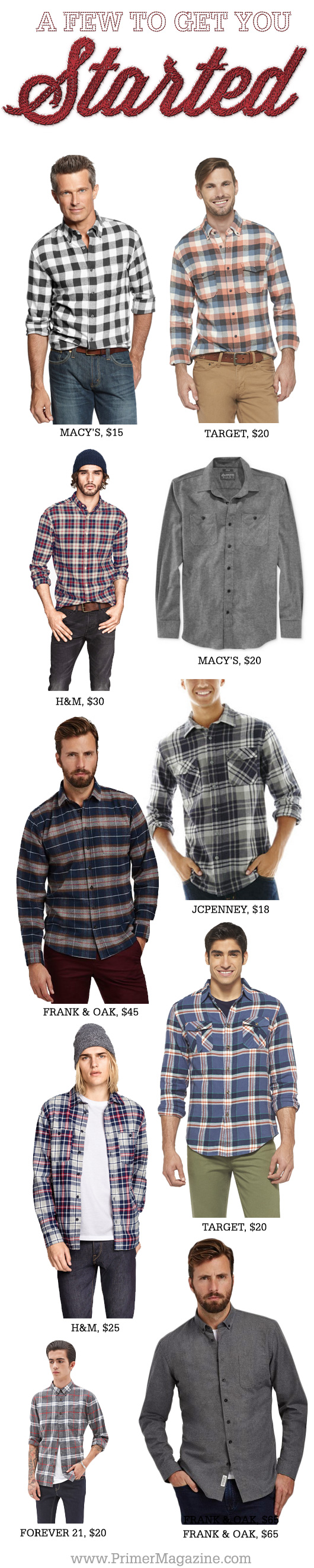 Collage of flannel shirt options