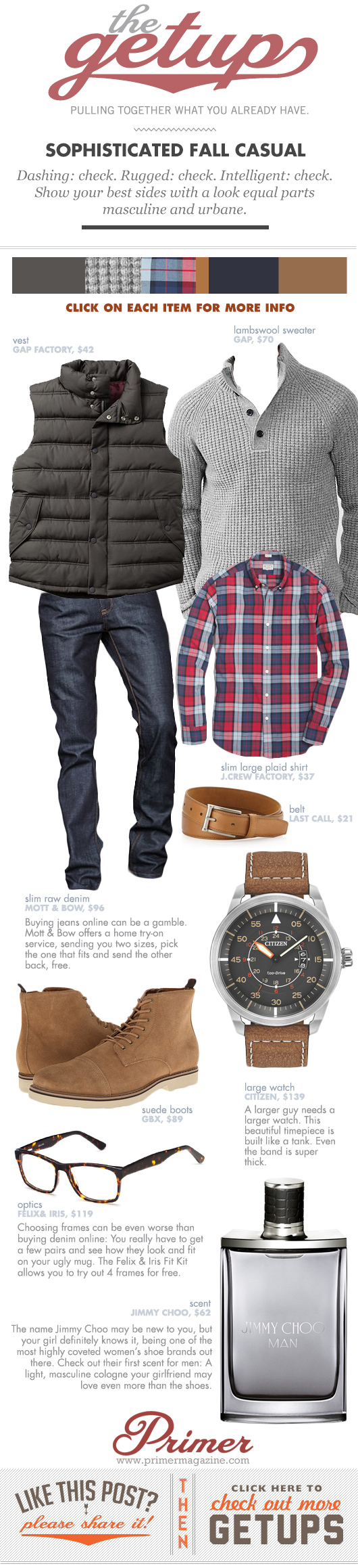 Getup Sophisticated Fall Casual - Sweater and vest with plaid shirt and jeans