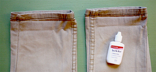shorten pants with fabric glue