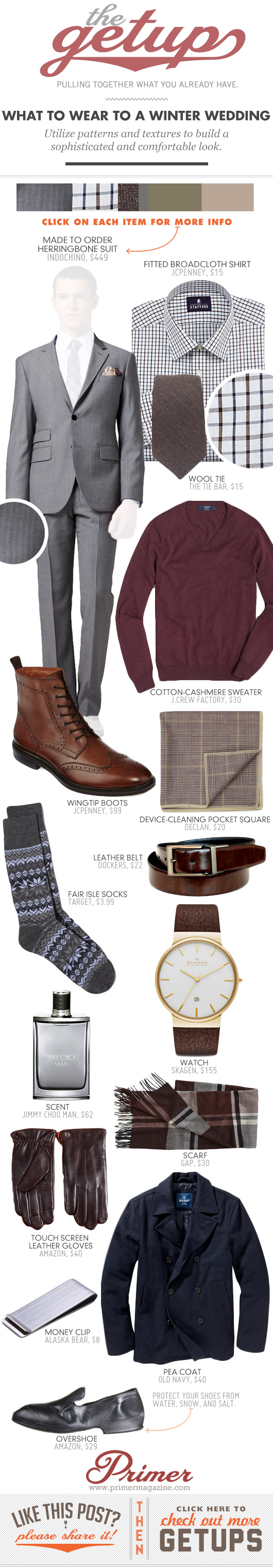Getup What to Wear to a Winter Wedding - Gray suit, red sweater, brown boots