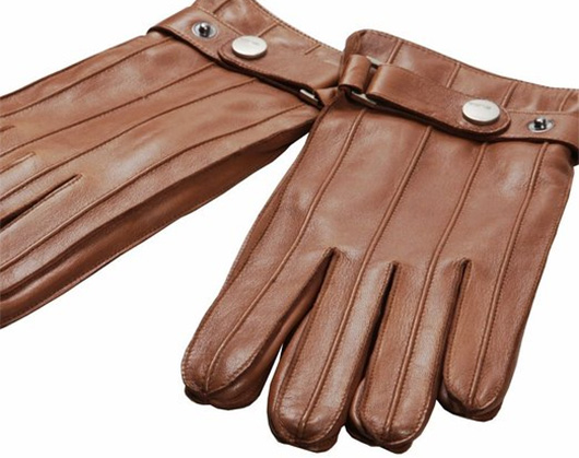 Brown leather gloves