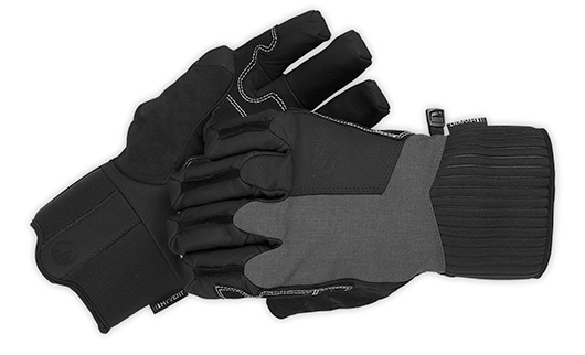 Black and gray gloves