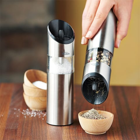 Graviti Electric Salt & Pepper Mills, $40