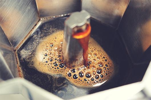Making coffee with a moka pot