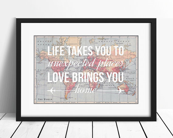 Map with quote gift in frame