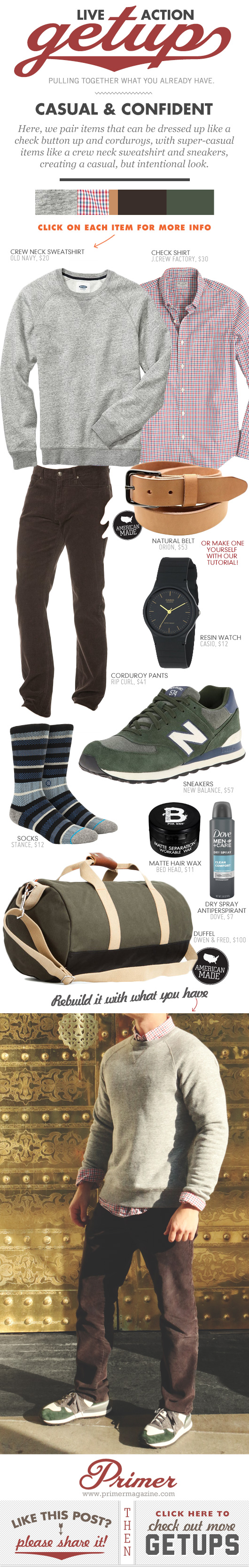 Getup Casual and Confident - gray sweatshirt, button up shirt, brown corduroys, green sneakers