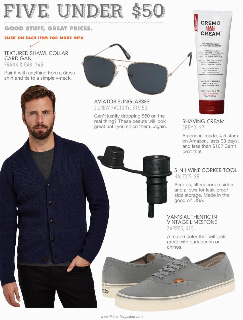5 Under 50 - sunglasses, shaving cream, wine corker tool, sweater, sneakers