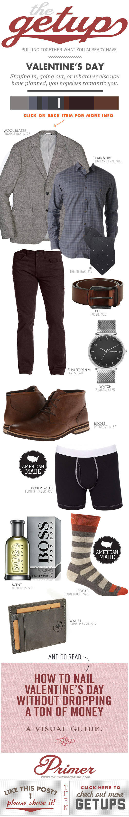Getup Valentines Day - Outfit with gray blazer, slim denim, and brown boots