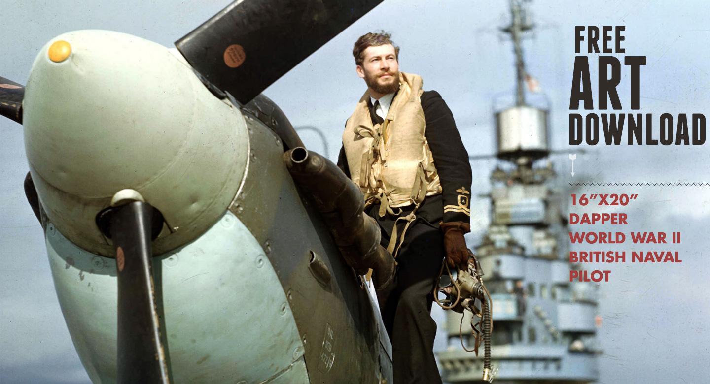 Free Art Download Dapper World War 2 British Naval Pilot
