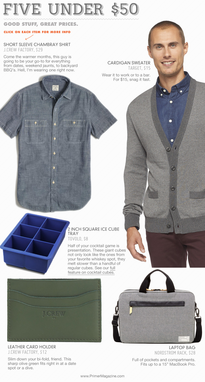 5 under 50 - chambray shirt, sweater, ice cube tray, briefcase, card case