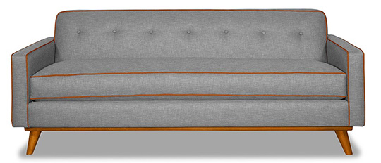 Gray sofa with brown accent