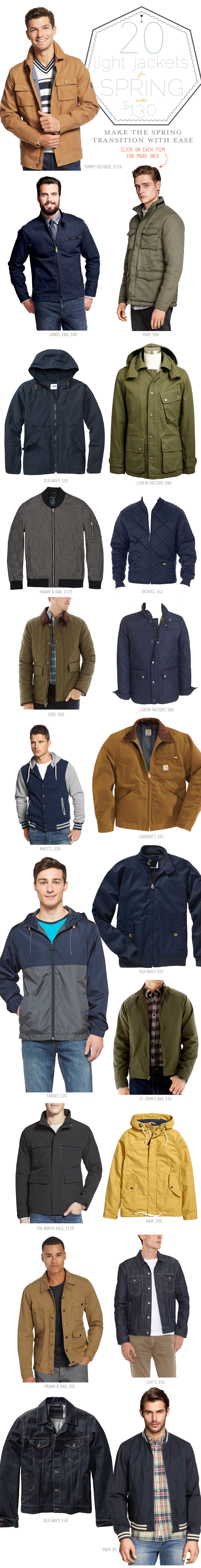 An infographic feature 20 spring jackets under $130