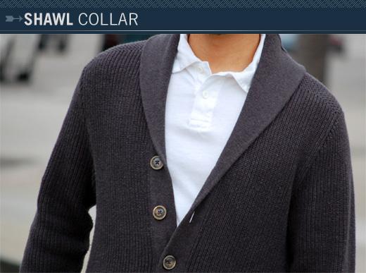A man wearing a shawl collar sweater