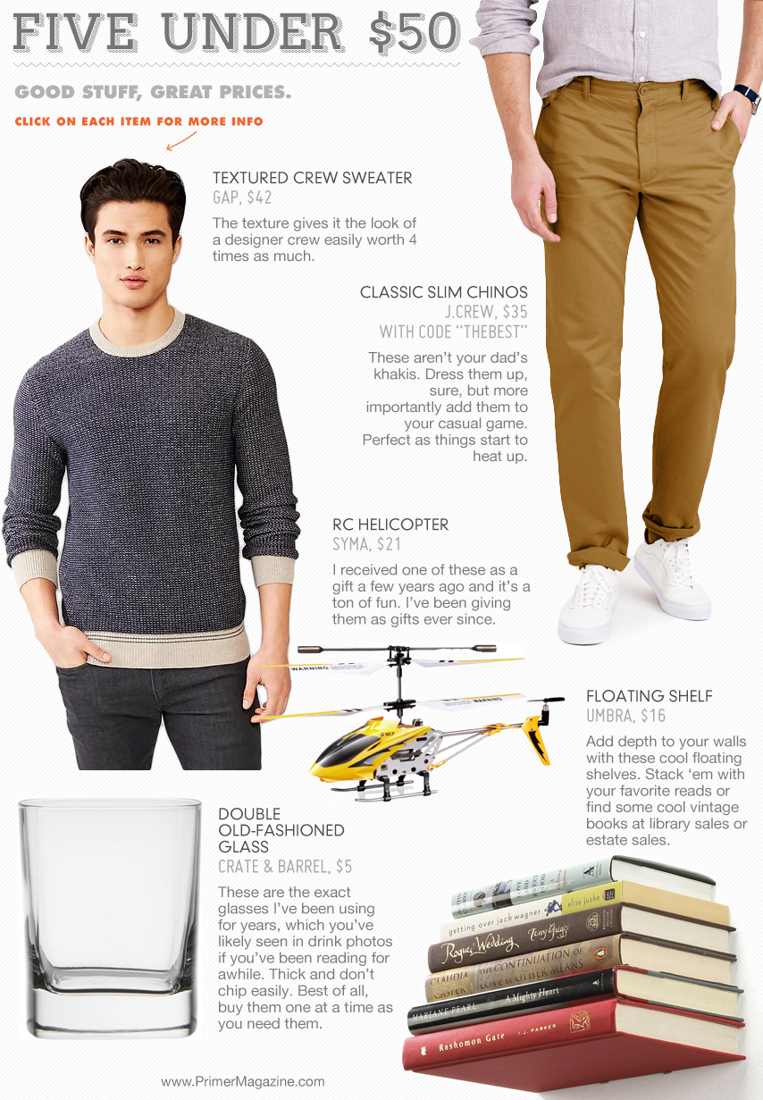 5 under 50 - sweater, tan pants, old fashioned glass, helicopter, floating shelf