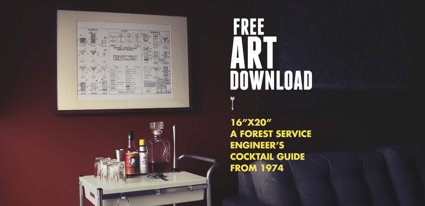Free Art Download: A Forest Service Engineer's Guide to Cocktails from 1974 (16″x20″)