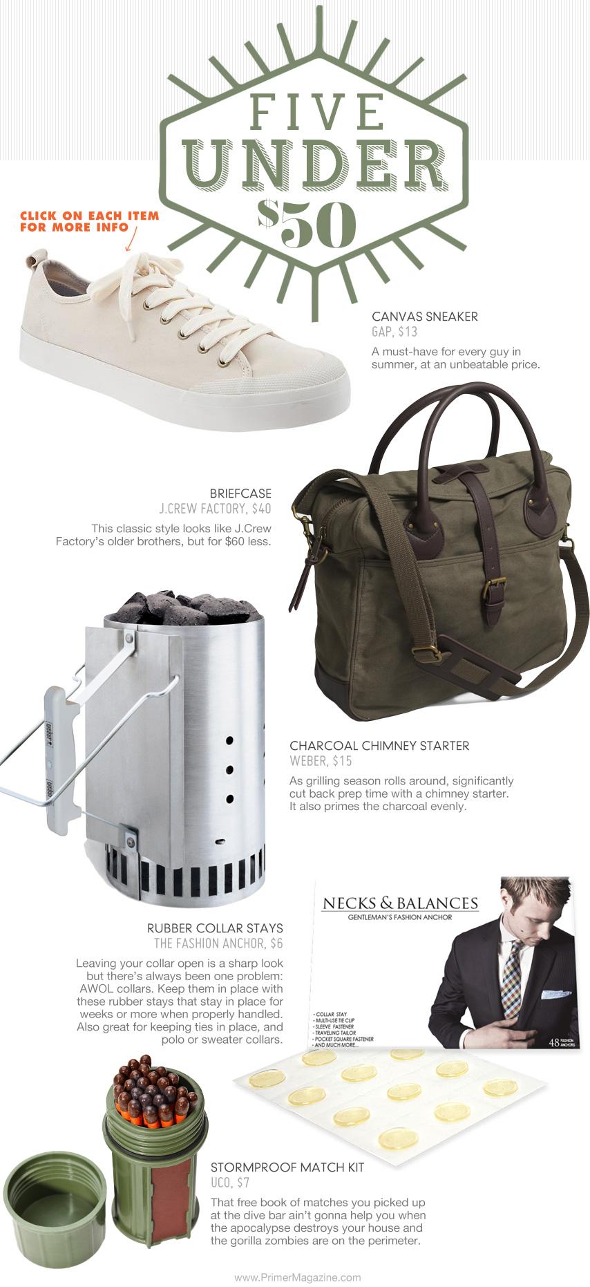 5 under 50 - sneakers, briefcase, chimney starter, necks and balances, matches