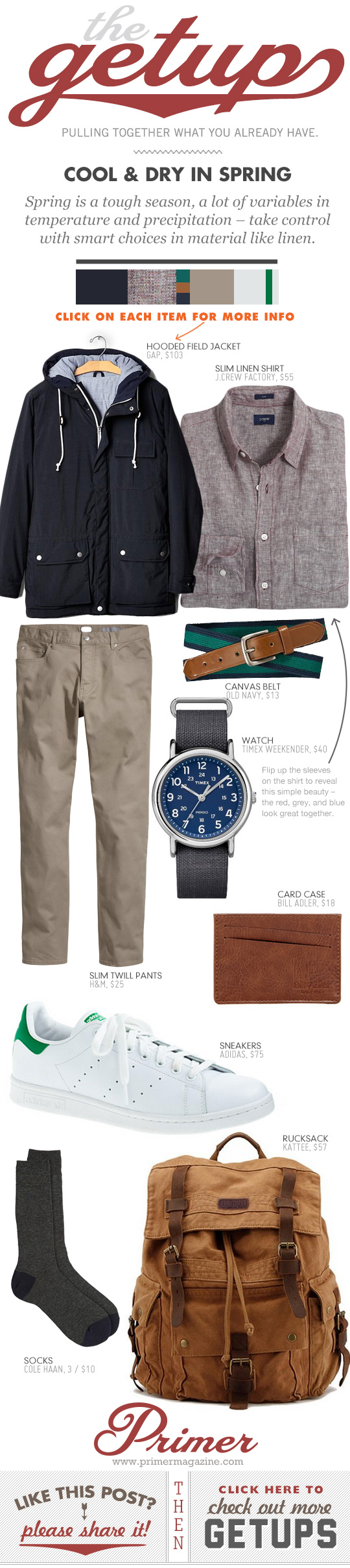 Getup - Cold and Dry in Spring outfit - anorak with shirt, tan pants, and Stan Smith sneakers