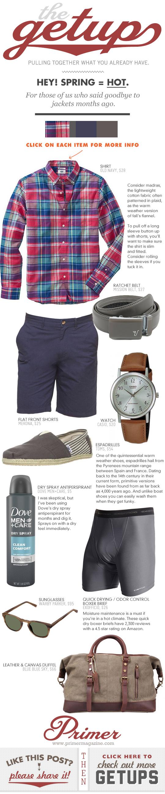 Getup - Spring equals hot - plaid shirt, navy shorts, gray espadrilles