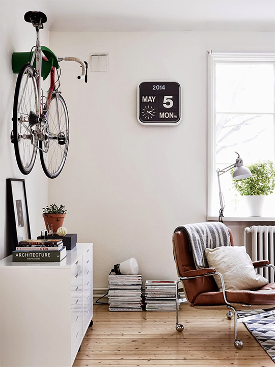 A bicycle in a living room