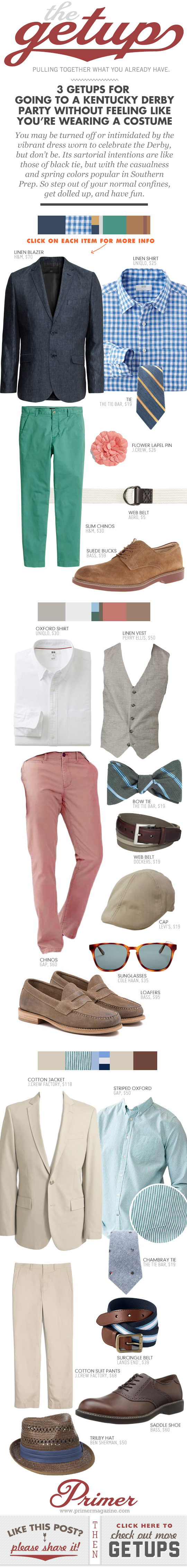Getup - Infographic featuring 3 outfit ideas for a Kentucy Derby party