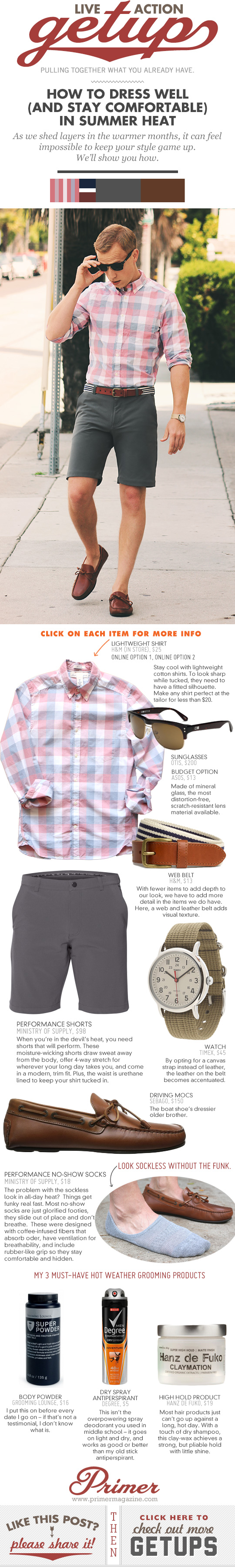 Getup - How to Dress Well in Summer - Pink check shirt, gray shorts, driving mocs