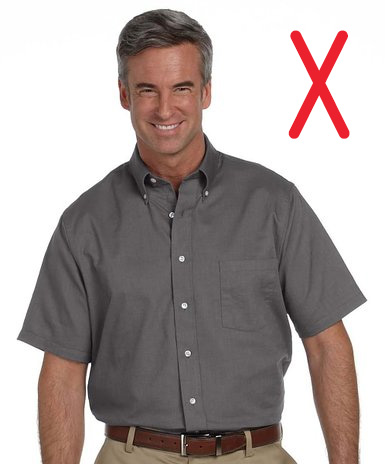 poor fitting short sleeve shirt men