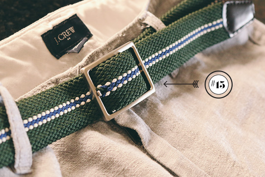 uniqlo green and silver belt