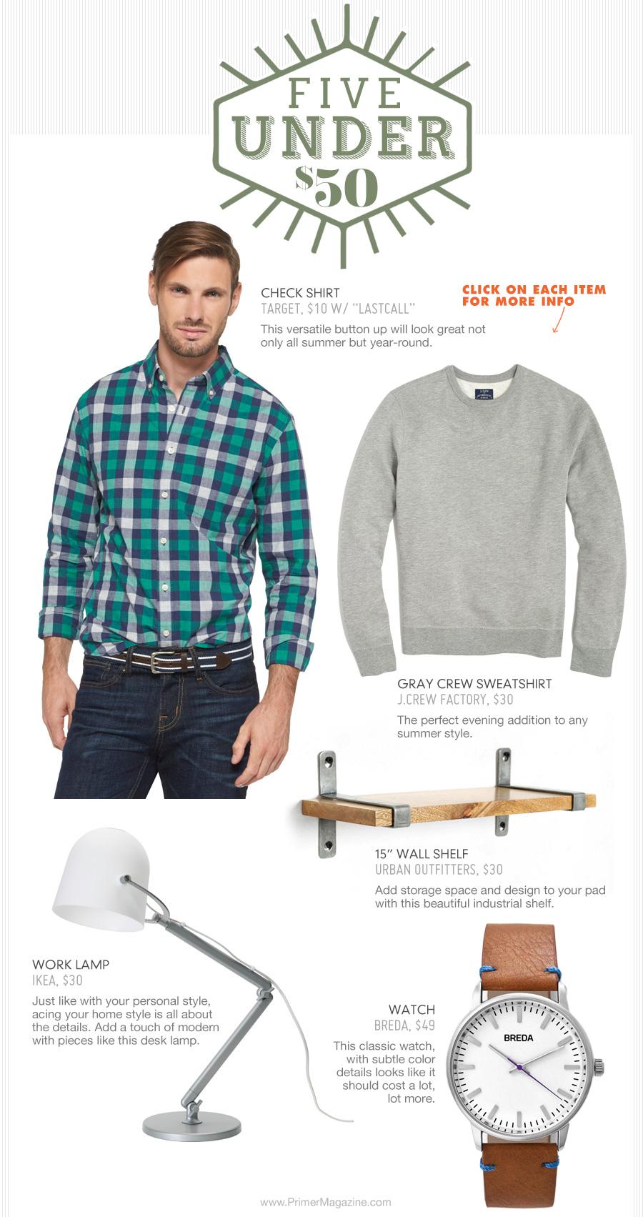 5 under 50 - plaid shirt, gray sweatshirt, shelf, desk lamp, watch