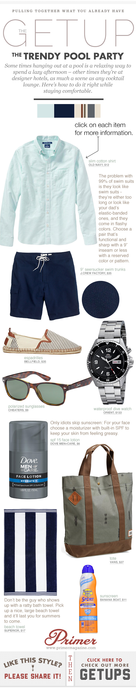 Trendy Pool Party Getup - Green shirt, blue shorts, espadrilles