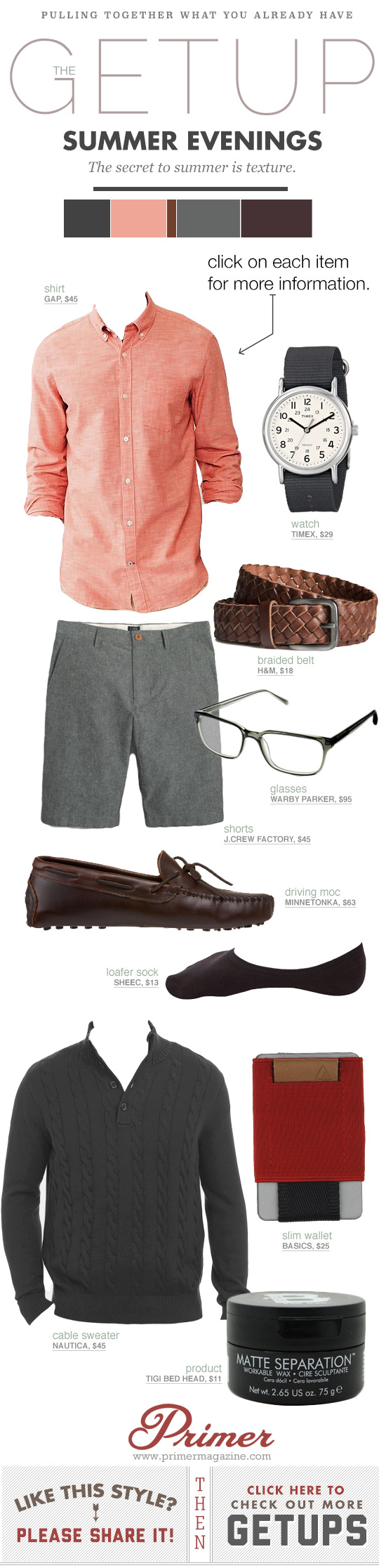 Getup Summer Evenings - Salmon shirt, gray shorts, brown leather loafers with glasses