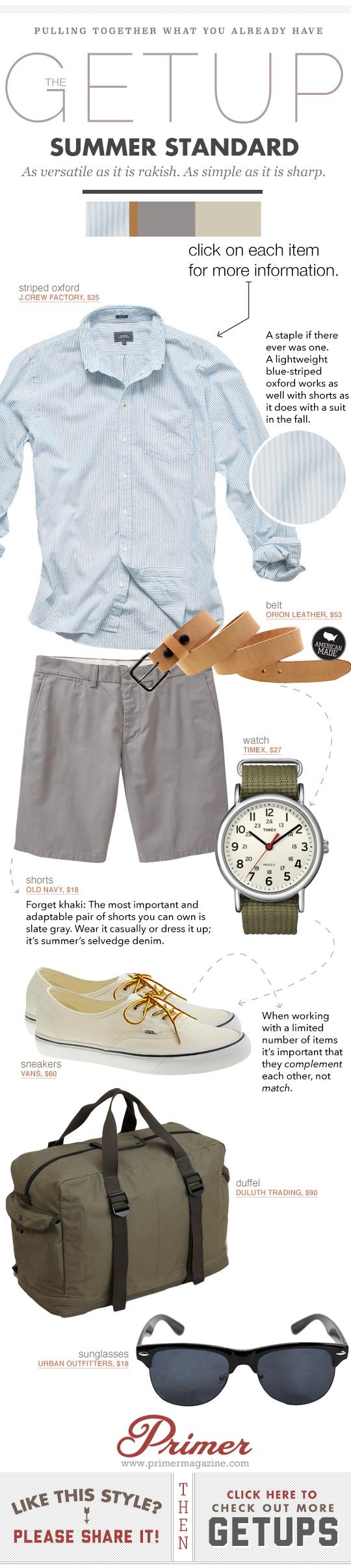 Getup Summer Standard - Blue button up shirt, gray shorts, tan belt, green watch, vans sneakers
