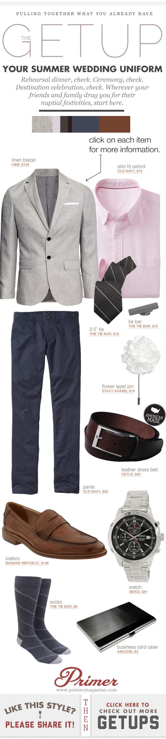 Getup Summer Wedding Uniform - gray blazer, shirt and tie, blue pants