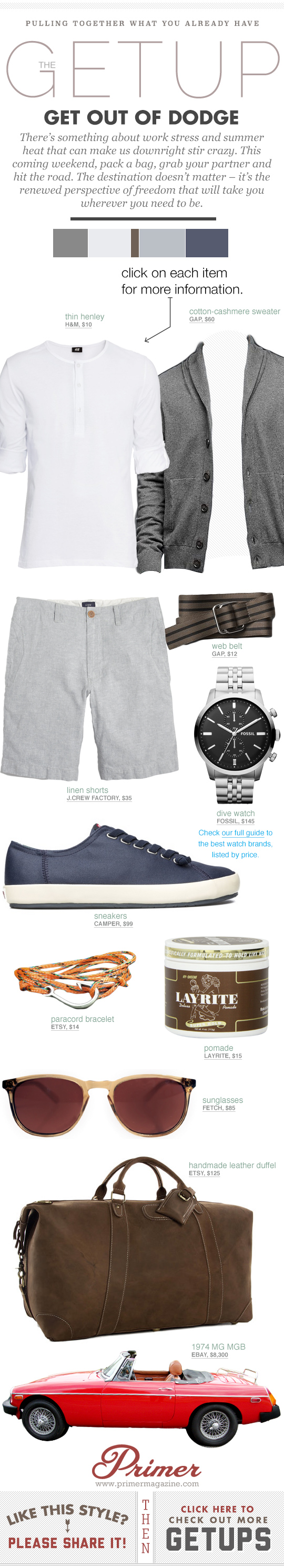 Get Out of Dodge Getup with gray sweater, white henley, linen shorts, and blue sneakers