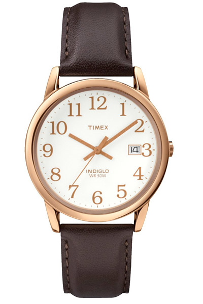 Timex watch with rose gold hands