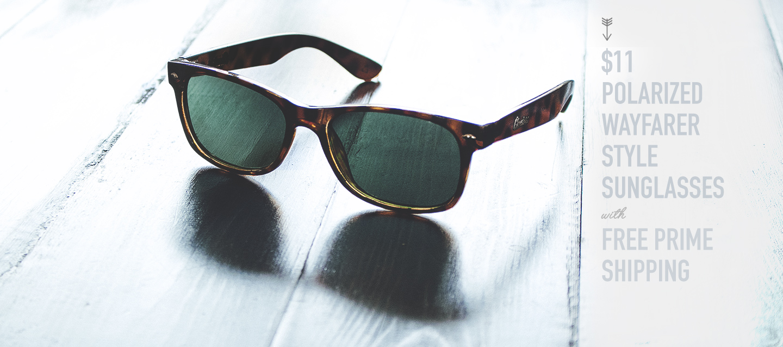 $11 Polarized Wayfarer Style Sunglasses with Free Prime Shipping