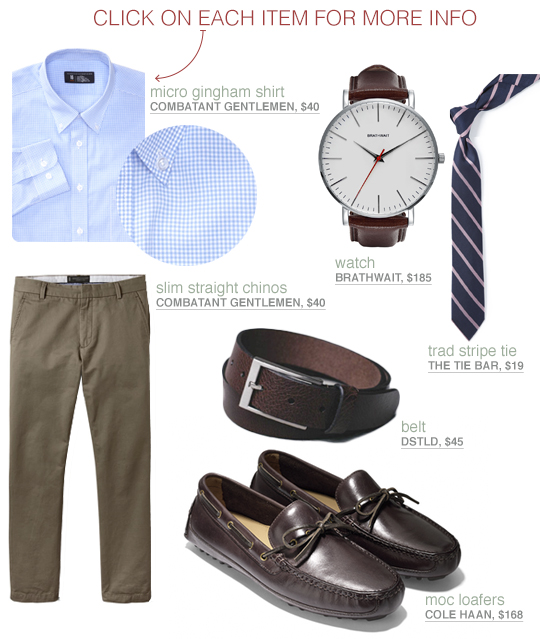 Dressed up look with blue shirt, olive chinos, and loafers