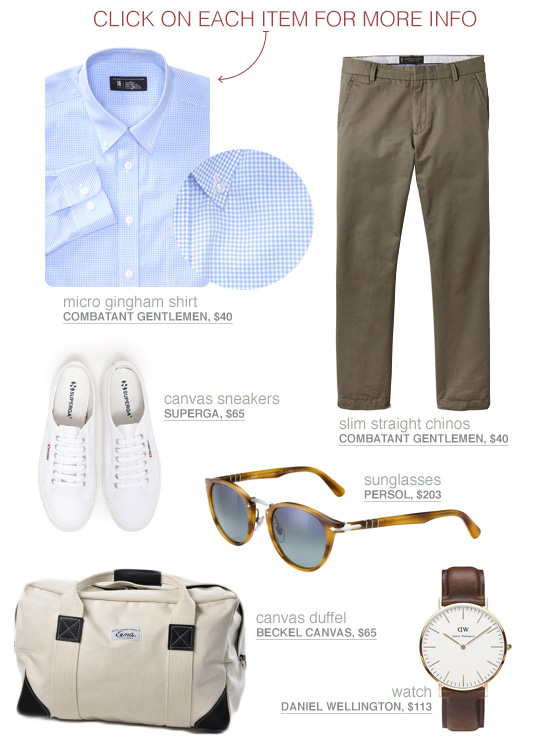 Casual outfit with blue check shirt, olive pants, white sneakers