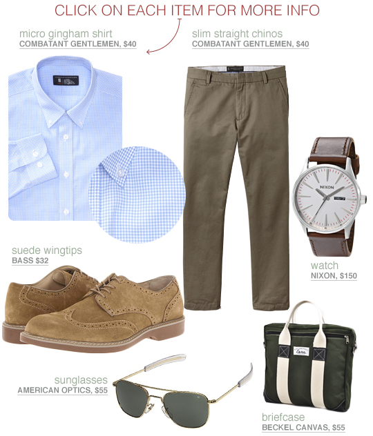 Business casual outfit with blue check shirt, olive trousers, and suede shoes