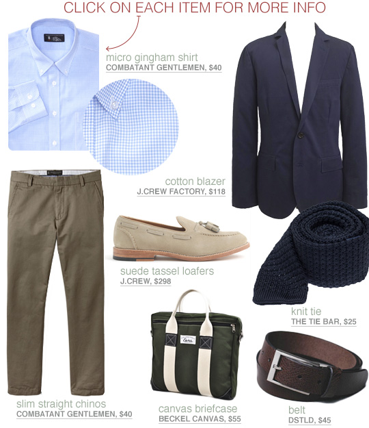 Business Getup with blazer blue shirt and green pants
