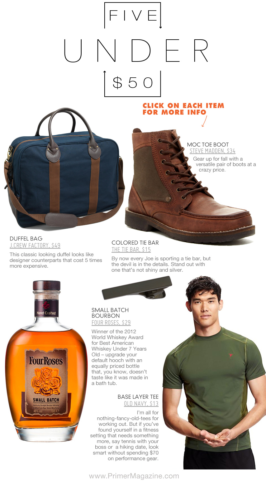 5 Under 50 with briefcase, boots, Four Roses Bourbon, Tie Bar, and workout shirt