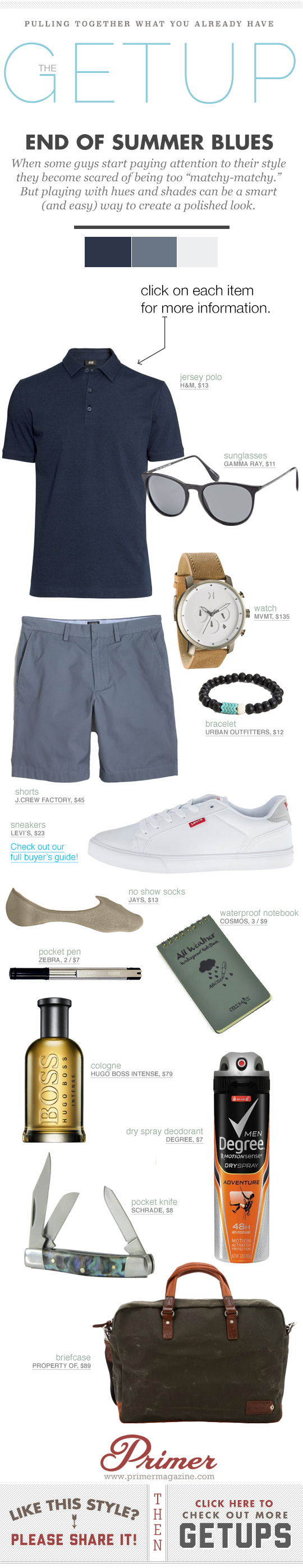 End of Summer Blues Getup - Polo and shorts with white sneakers outfit idea
