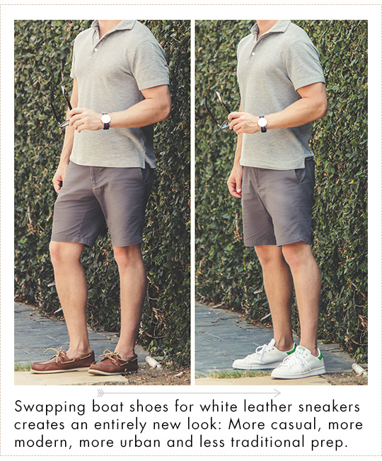 how to wear white leather sneakers