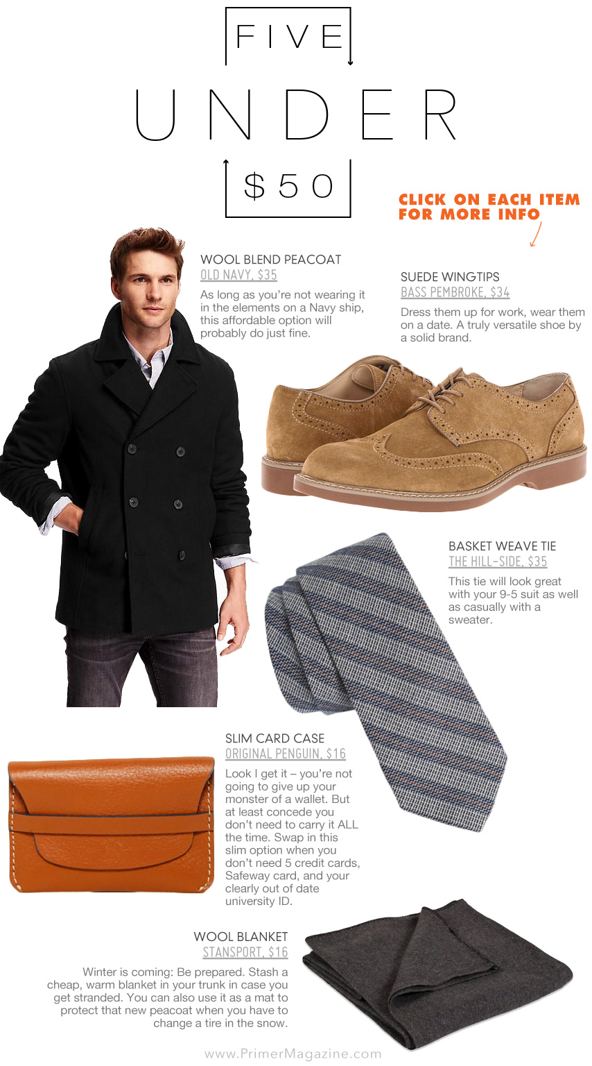 5 Under 50 - peacoat, suede shoes, striped tie, wallet