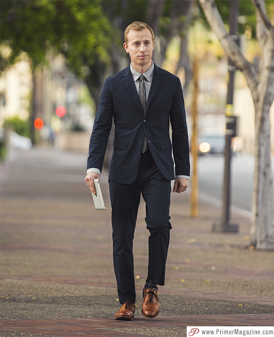 Navy blue suit gray tie brown shoes