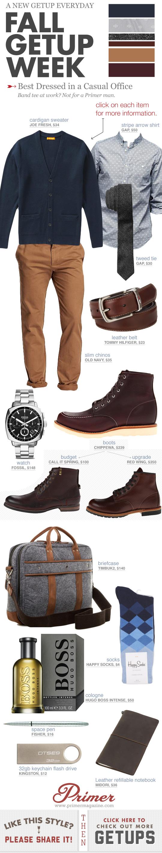 Casual Office Fall Getup Week - Cardigan, dress shirt, khaki pants, moc toe boots