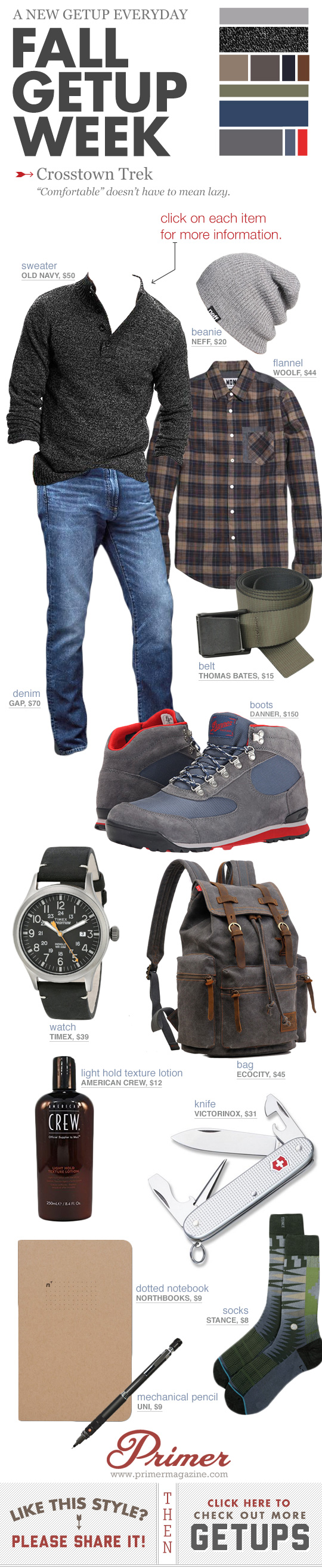 Fall Getup Week - Crosstown Trek - Beanie with sweater, jeans, and Danner boots