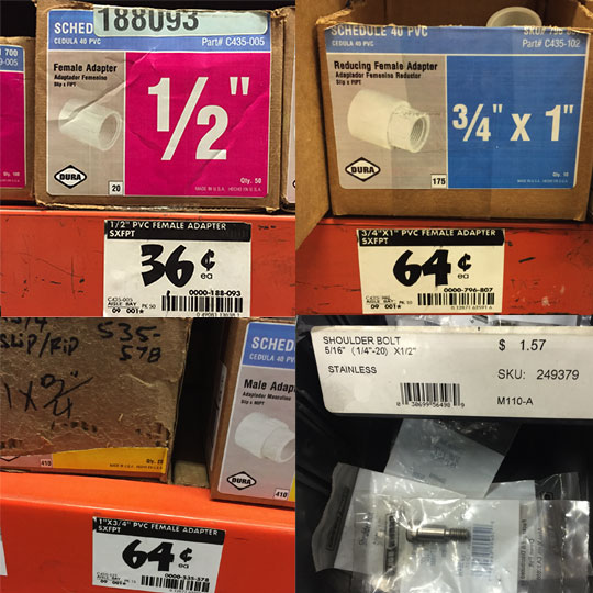 Prices for PVC parts at Home Depot