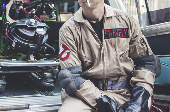 DIY Ghostbusters costume elbow pads
