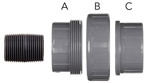 Parts of plastic hose connector