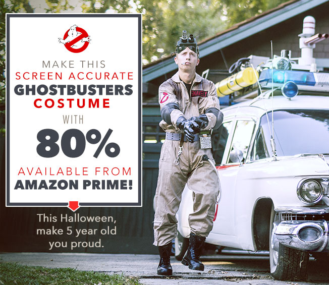 Easy, Screen Accurate Ghostbusters Costume with 80% Available from Amazon Prime!